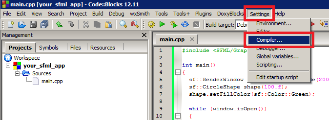 Screenshot of the Code::Blocks compiler settings menu entry