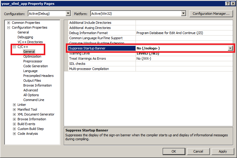 Screenshot of the Visual Studio compiler suppress startup banner setting