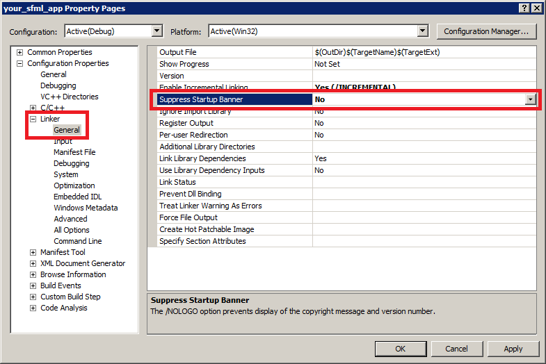 Screenshot of the Visual Studio linker suppress startup banner setting